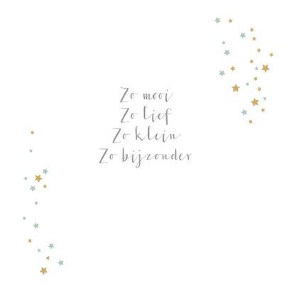 Felicitatiekaart met lijntekening van baby met sterrenregen 2