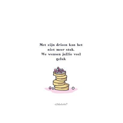 Felicitatiekaart met meisje en beschuit met roze muisjes 2