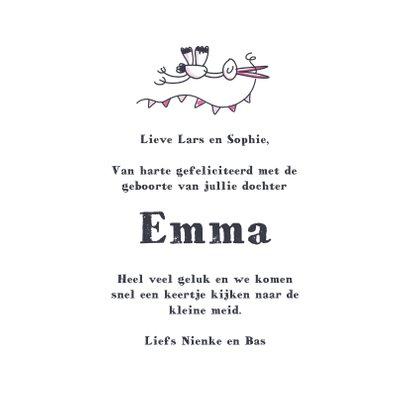 Felicitatiekaart met meisje en beschuit met roze muisjes 3