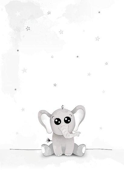 Felicitatiekaart met olifant, grote avonturen beginnen klein 2