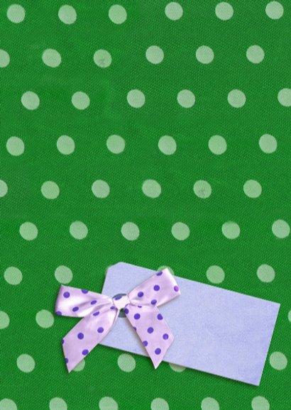 Felicitatiekaart met Pioenrozen op groen met stippen 3