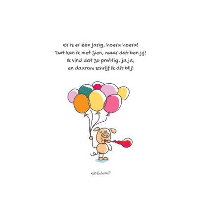 Felicitatiekaart met varken in de lucht met ballonnen 2