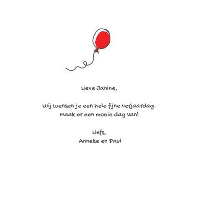 Felicitatiekaart met varken in de lucht met ballonnen 3