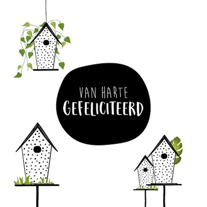 Felicitatiekaart met vogelhuisjes voor een nieuwe woning 2
