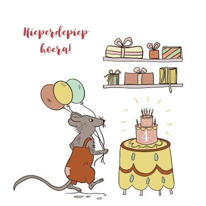 Felicitatiekaart muis met taart, ballonnen en kadootjes 2