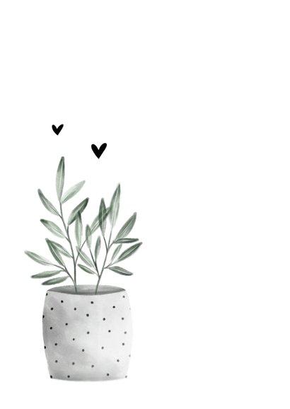 Felicitatiekaart new home met planten en hartjes 2
