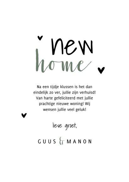 Felicitatiekaart new home met planten en hartjes 3