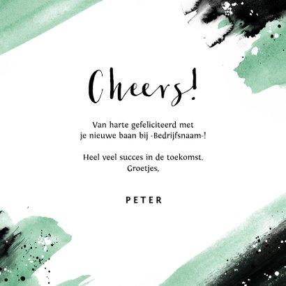 Felicitatiekaart nieuwe baan verf spetters cheers 3