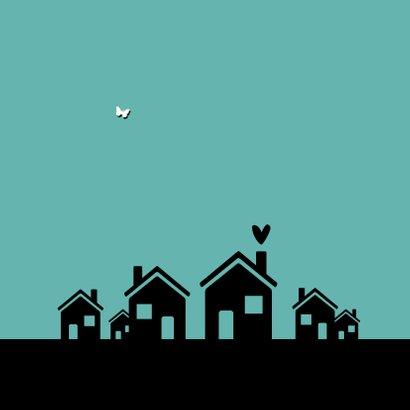 Felicitatiekaart nieuwe buren welkom huisje silhouet 2