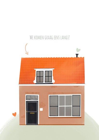 Felicitatiekaart nieuwe woning huis illustratie en hartjes 2