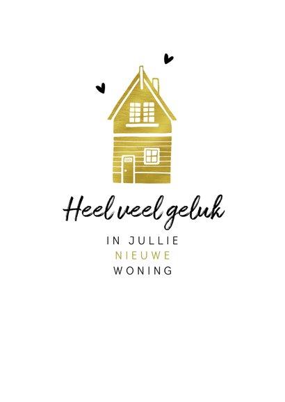 Felicitatiekaart nieuwe woning huisjes hip goud typo 2
