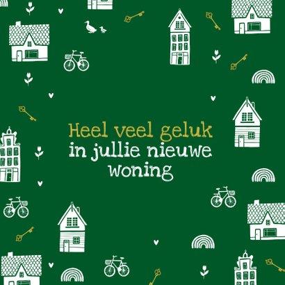 Felicitatiekaart nieuwe woning huisjes sleutels fietsen 2
