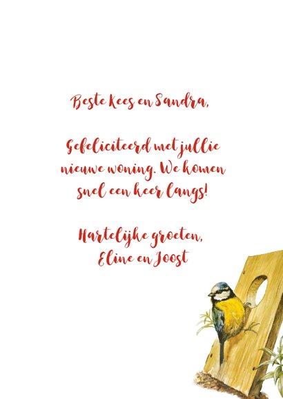 Felicitatiekaart nieuwe woning kabouter en vogelhuis 3