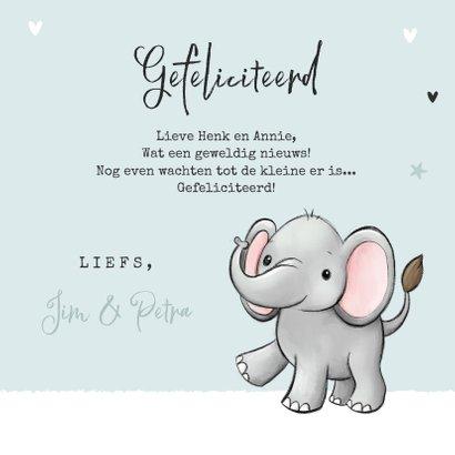 Felicitatiekaart opa en oma kleinkind olifantje unisex 3