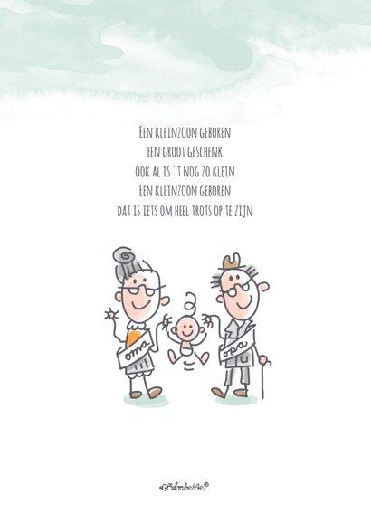 Felicitatiekaart opa en oma met baby op wereldbol 2