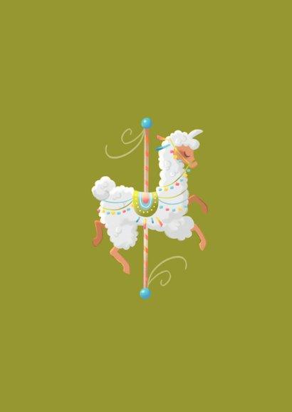 Felicitatiekaart pastel carrousel lama 2
