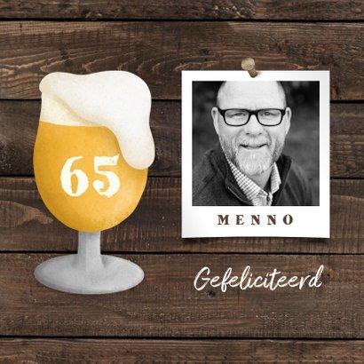 Felicitatiekaart pensioen bierglas met foto en leeftijd 2
