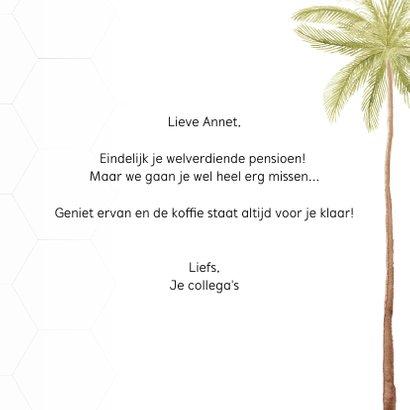Felicitatiekaart pensioen met mooie palmbomen 3