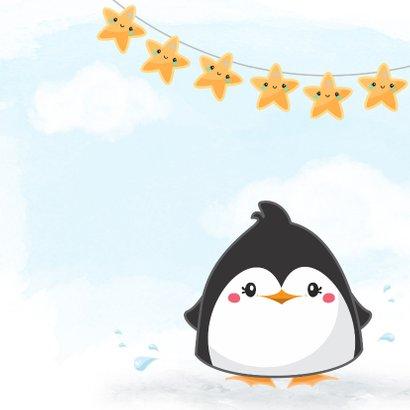 Felicitatiekaart pinguin voor geboorte jongen 2