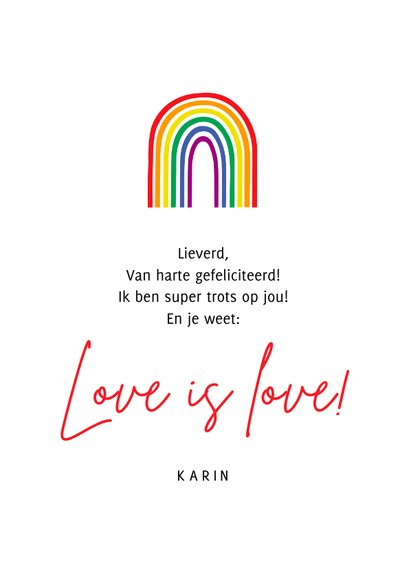 Felicitatiekaart pride regenboog trots op jou 3