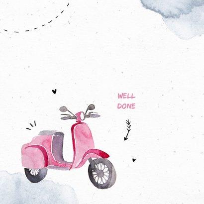 Felicitatiekaart scooter bromfiets meisje waterverf doodle 2