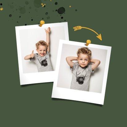 Felicitatiekaart spetters goud donkergroen met foto 2