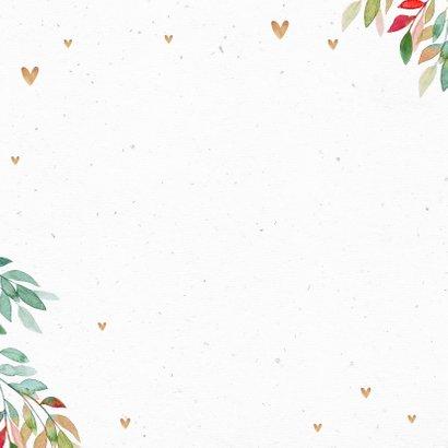 Felicitatiekaart stijlvol goud wegwijzers hartjes bladeren 2