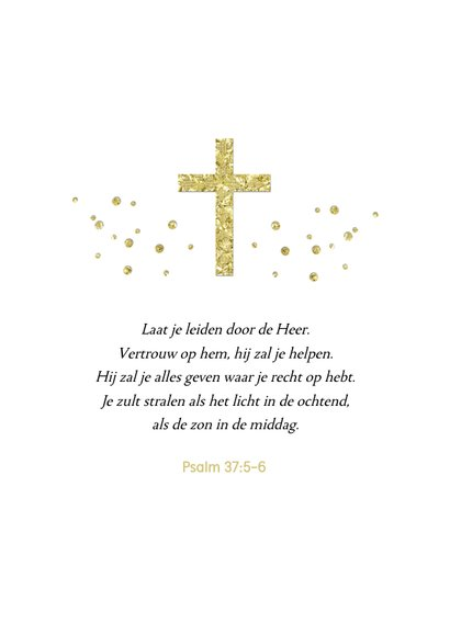 Felicitatiekaart stijlvol heilige communie kruis goud takje 2