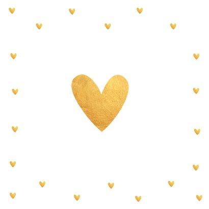 Felicitatiekaart trouwdag typografie hartjes goudlook 2