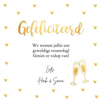 Felicitatiekaart trouwdag typografie hartjes goudlook 3