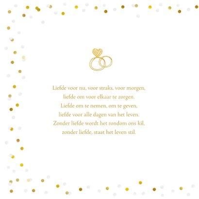 Felicitatiekaart trouwen met eigen foto en confetti kader 2