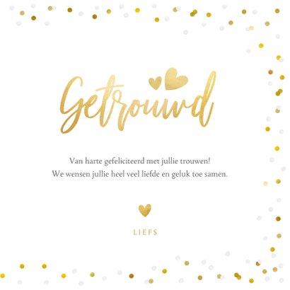 Felicitatiekaart trouwen met eigen foto en confetti kader 3