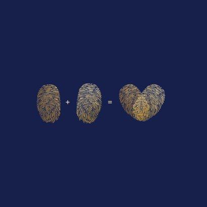 Felicitatiekaart trouwen - vingerafdrukken die hart vormen 2