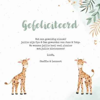 Felicitatiekaart tweeling geboorte dieren giraf 3