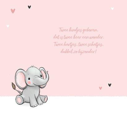 Felicitatiekaart tweeling geboorte olifantjes hartjes roze 2
