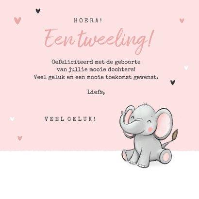 Felicitatiekaart tweeling geboorte olifantjes hartjes roze 3