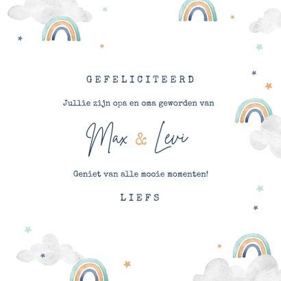Felicitatiekaart tweeling geboorte opa oma regenboogjes  3