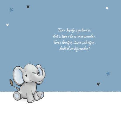 Felicitatiekaart tweeling jongens geboorte baby olifantjes 2