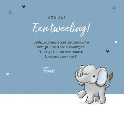 Felicitatiekaart tweeling jongens geboorte baby olifantjes 3