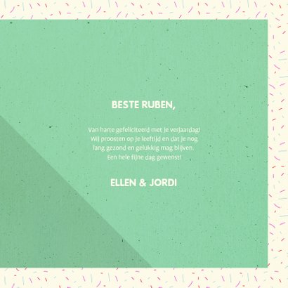 Felicitatiekaart typografisch 'HAPPY BIRTHDAY' met confetti 3