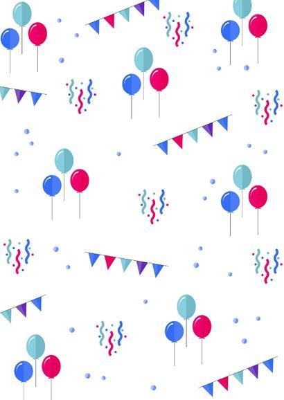 Felicitatiekaart verjaardag ballonnen, slingers en confetti 2