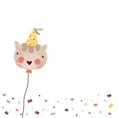 Felicitatiekaart verjaardag kat groen en bruin 2