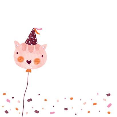 Felicitatiekaart verjaardag kat roze 2