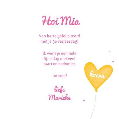 Felicitatiekaart verjaardag meisje ballon geel 3