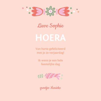 Felicitatiekaart verjaardag roze konijn kroon 3