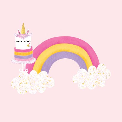 Felicitatiekaart verjaardag unicorn taart roze / goud - MW 2