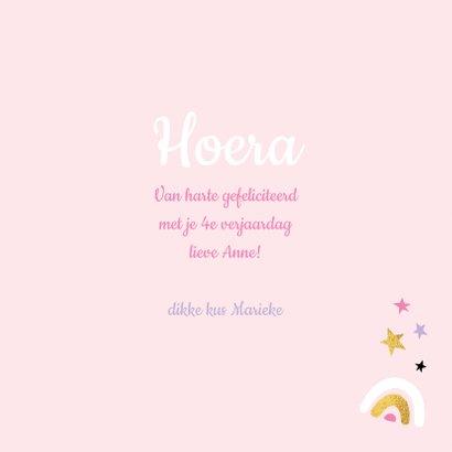 Felicitatiekaart verjaardag unicorn taart roze / goud - MW 3