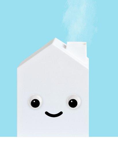 Felicitatiekaart voor een nieuw huis met huisje met oogjes 2