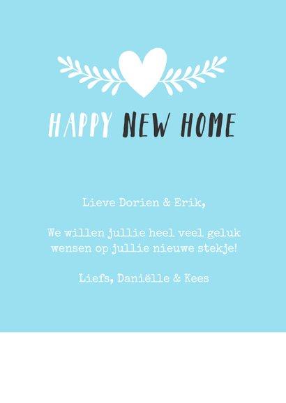 Felicitatiekaart voor een nieuw huis met huisje met oogjes 3