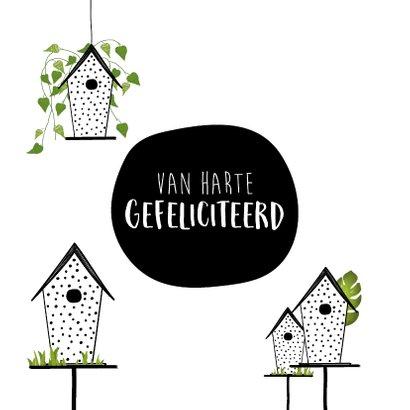 Felicitatiekaart voor een nieuwe woning met vogelhuisjes 2